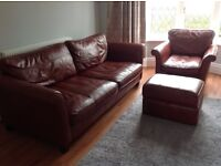 DFS SOFA, CHAIR AND OTTOMAN RED OXBLOOD LEATHER