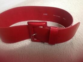 Hobbs Red Leather Belt Small