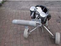 SET OF ALLOY GOLF CLUBS,WITH TROLLEY