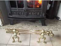 fire side stove solid brass claw and ball companion set