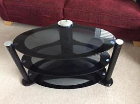 TV stand - black with 2 shelves and the top.