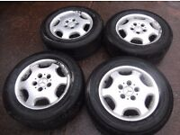 "MERCEDES C CLASS 15"" ALLOY WHEELS &TYRES 2024010002 6 1/2 J X 15 ET37"
