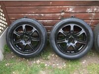 SET 4 ,5 X 108 PCD ,STUNNING LOOKING BLACK ALLOY WHEELS C/W 205 X 55 X 16 TYRES ,SUIT FORDS JAGS ETC