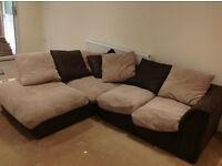FABRIC CORNER SOFA FOR SALE 12 MONTHS OLD - MUST GO ASAP - FREE DELIVERY LONDON - £195