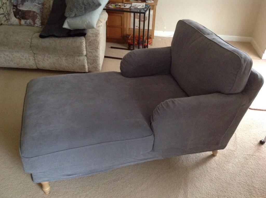 Ikea stocksund in tallmyra grey chaise longue nearly new for Chaise longue jardin ikea