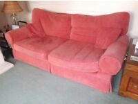 SOFA SET ARM CHAIR ONE TWO SEATER AND ONE THREE SEATER LAURA ASHLEY IN A PALE RED CLASSIC STYLE.