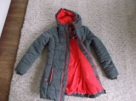 New Ladies SuperDry Polar Winter Coat / Jacket Grey Marl with Pink Insert Size XS 6-8 New with Tags.