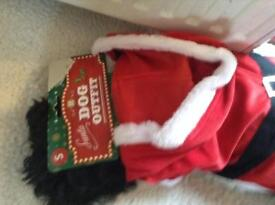 Brand new Santa dog outfit .