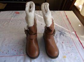 Ajvani Women's Low Heel Fur Lined Winter Calf Boots UK5 / EU38