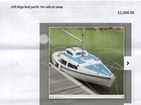MY CRACKING DOCKRELL 22FT 4 BERTH BILGE KEEL YACHT WITH MOORING IF REQUIRED ON THE RIVER DART