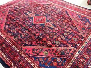 Semi-Antique Persian Rug, Handmade Carpet, Wool, Red, Beige, Blue and Navy Blue Size: 10.5 x 8.8 ft