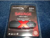 Kingston HyperX Savage 512GB USB 3.1/3.0/2.0 GEN 1 Flash Pen Drive Memory Stick