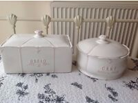 JOHN LEWIS FRENCH COUNTRY STYLE CERAMIC BREAD AND MATCHING CAKE BINS