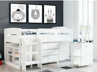 New White Kids Cabin Bunk Bed and Desk Set B260-39605
