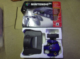 boxed n64 console and games