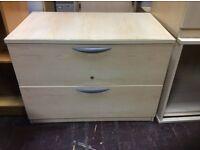 Two Drawer Light Oak Filing Cabinet
