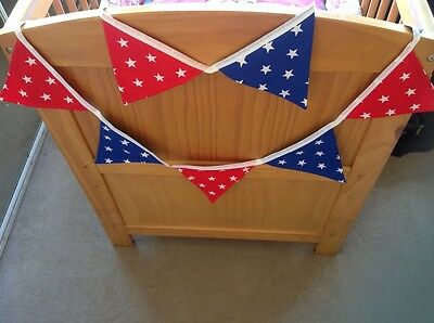Cushi Cots 100% cotton 3m 18 flags quality bunting boys red white and blue stars