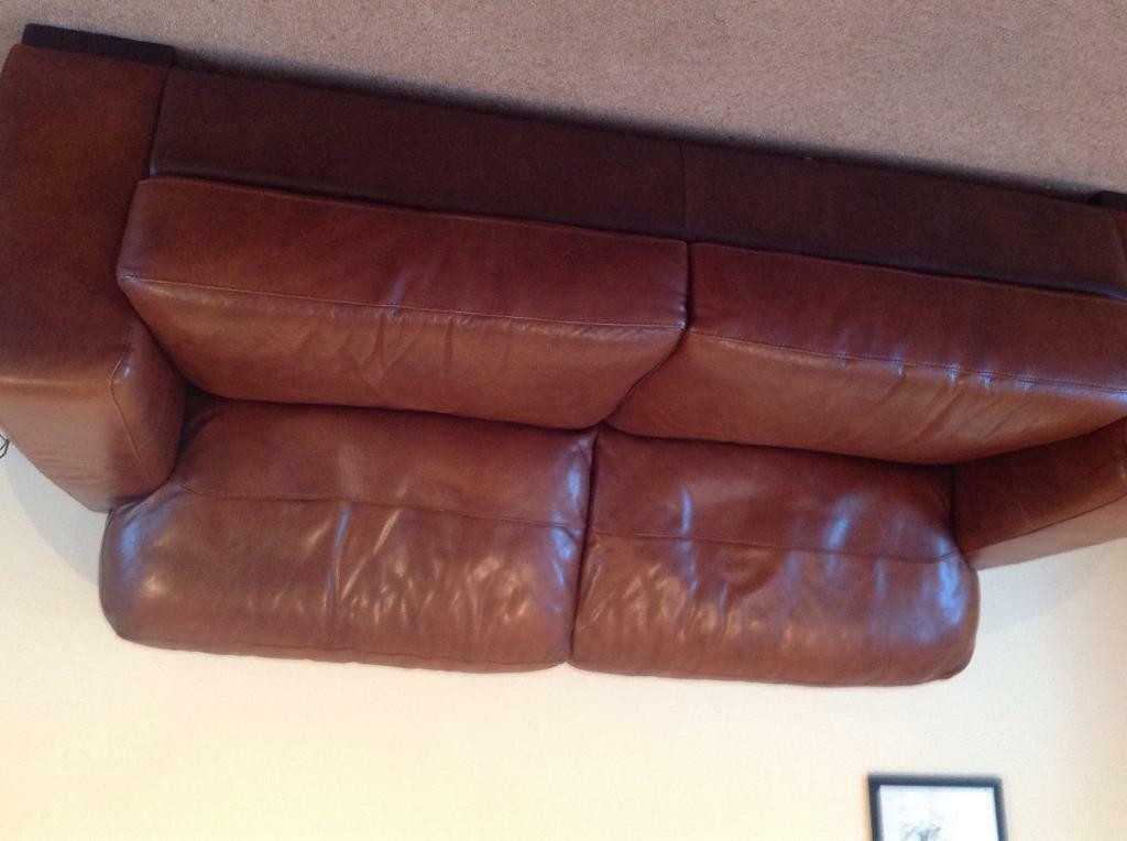 Real leather sofas One three seater, one two Beautiful quality