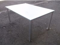 large Glass top on ali frame patio out-door table ***Can deliver***