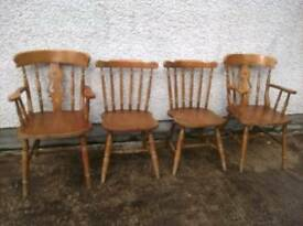 Set of 4 sturdy pine chairs with 2 carvers