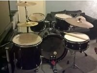Full Acoustic Drum Kit(Upgraded cymbals, skins and Ride stand)+Seat+Sticks+Drum Key