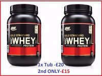 Optimum Nutrition Gold Standard 100% Whey Protein 2LB   Different flavours   Only £20 per tub