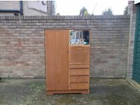 MULTI PURPOSE YOUNG PERSONS WARDROBE , CHEST AND BUREAU COMBINED . LIGHT WOOD LATE 1950'S