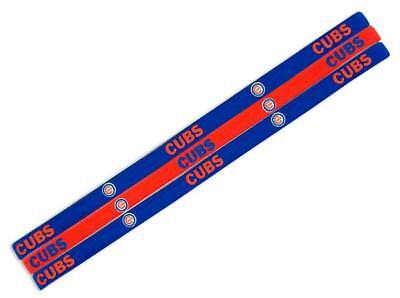 Chicago Cubs Elastic Headband 3 Pack [NEW] NFL Hair Tie Head Band Pony