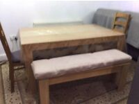 Dining table with 2 chairs and 2 benches