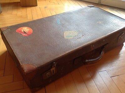 Antiker,alter, Koffer , Lederkoffer Reisekoffer Oldtimer braun