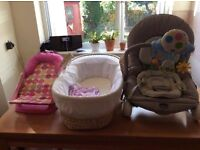 Musical chair, bath seat and Moses basket (stand included)