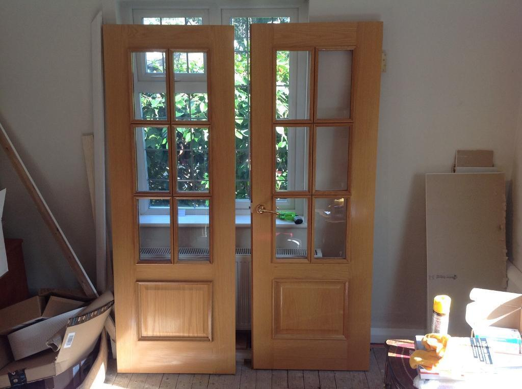 Internal Glazed solid oak fire doors H: 77\