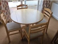 Round Wooden Dining Table & 4 Chairs
