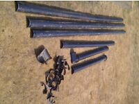 Used guttering. Black round 110mm. About 17M length with accessories.
