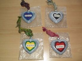 4 OOAK HANDPAINTED DISTRESSED ALTERED ART GLASS TREE HANGING HEART BAUBLES