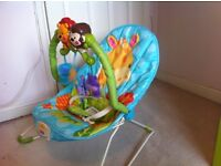 Fisher price 'Rainforest' newborn to toddler bouncer/ rocker with vibration