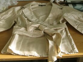 Coast pure silk top, size 12, beige with a slight sheen, belt and side zip, excellent condition