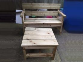 Handmade Wooden Garden Bench And Table Set