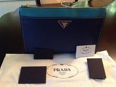 Prada Saffiano Bicolor Clutch, Blue Multi Bluette/Turchese Leather