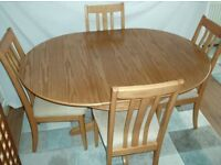DINING TABLE EXTENDABLE & 4 SUEDE DINING CHAIRS Elm Grove Range Dining Set