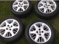 SET 4, 4 X 100 PCD,VERY NICE STRAIGHT ALLOY WHEELS, C/W CENTRES C/W AS NEW 195 X 55 X 15 TYRES ,