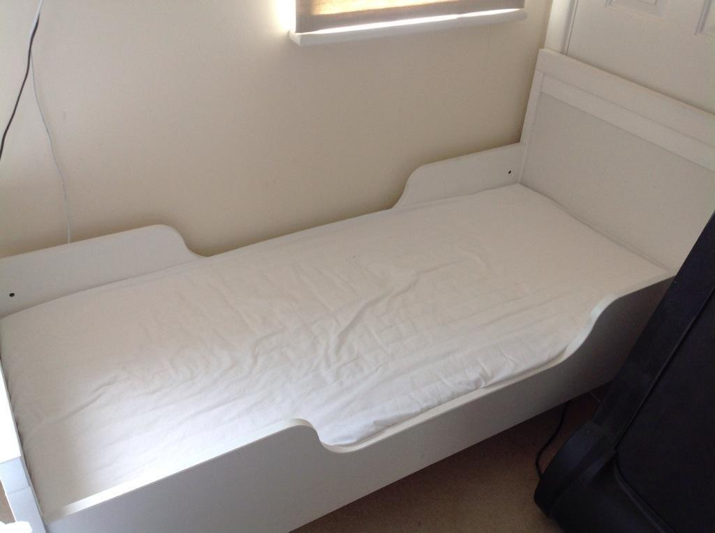 Ikea White Childrens Junior Bed Frame With Slatted Bed