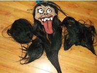 Halloween Scary Latex mask with long tongue and black hair plus 2 hair pieces