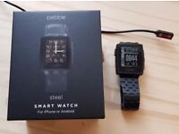 Pebble Steel Black Smartwatch inc box and two charging cables