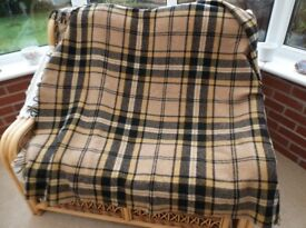 pure wool tartan travel rug
