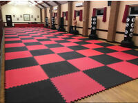 50 x 20mm Basic Jigsaw Mats Red/Black for Fitness, Martial Arts, Karate, Kickboxing, CE certified