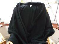 Black coat or cape faux fur trimmed