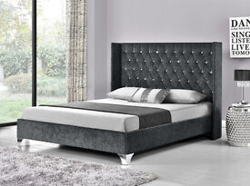 NEW STYLE OF Tall Wingback Headboard Frame BED, in all SIZES and RANGE of Coulors