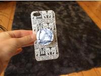 Elephant print phone case with marble pop socket