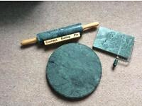 Green Marble Effect kitchen set for sale inc rolling pin, cheese cutter and lazy Susan